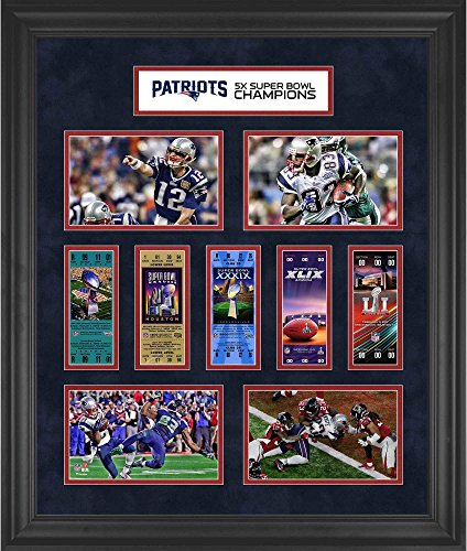 "New England Patriots Framed 23"" x 27"" 5-Time Super Bowl Champion Ticket Collage - Fanatics Authentic Certified from Sports Memorabilia"