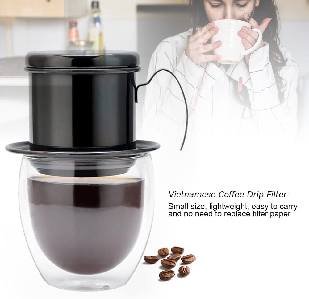 DEWIN Percolator Coffee Pot - Drip Coffee Maker, Coffee Filter,Stainless Steel Coffee Maker,Portable Drip Coffee Pot for Camping,Home, Kitchen, Office,3 Colors (Black)