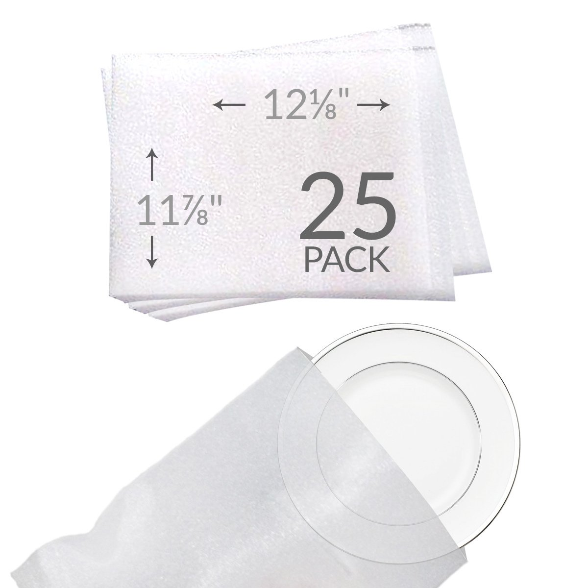 """UBOXES 11 7/8""""x 12 1/8"""" Foam Pouches for Plates (25 Pack) Protect Dishes"""