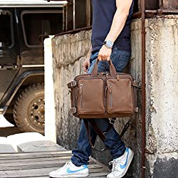 Leathario PU Leather Multifunction mens Backpack Messenger Bag