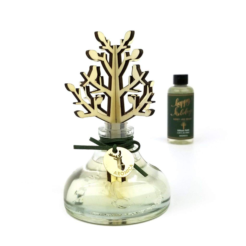 Aronica Winter Garden Holiday Woodcraft Diffuser with Refill 7.4oz/220ml (Merry and Bright) by Aronica