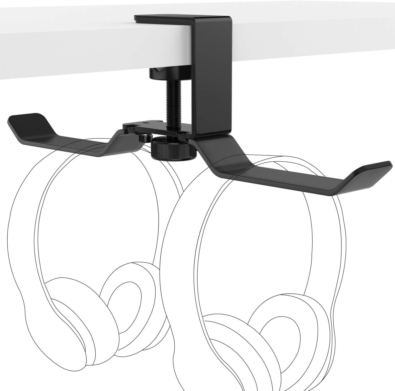 PS4 PC Gaming Headphone Hanger Foldable Under Desk Earphone Holder with Adjustable Clamp Desktop Headphones Headset Holder Mount Hook Stand