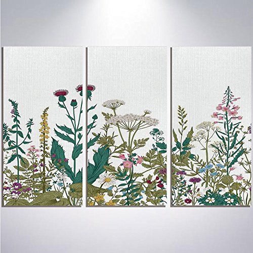 3 Pieces Modern Painting Canvas Prints Wall Art For Home Decoration Flower Decor Print On Canvas Giclee Artwork For Wall DecorFlowers Leaves in a Spring Garden with Daisies Roses Hydrangeas Art Print-