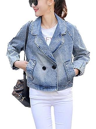 EMIN Frauen Herbst mode Denim Jacket Damen Mädchen Beiläufig Stilvoll Jeans Große  Größen Jeansjacke Jacket Oberbekleidung 90d586997f