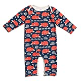 Winter Water Factory Long Sleeve Organic Cotton Romper Coverall, Boys, Girls, & Unisex Baby (6M (3-6 Months), Navy Foxes & Hedgehogs) offers