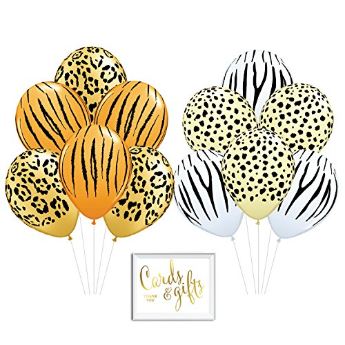 Andaz Press Bulk High Quality Latex Balloon Party Kit with Gold Cards & Gifts Sign, Jungle Tiger Leopard Cheetah Zebra Stripes Printed 11-inch Balloons, Wholesale 50-Pack