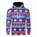 Beautyfine Look Men's 3D Christmas Print Sweatershirt Autumn Winter Long Sleeve Hooded Top