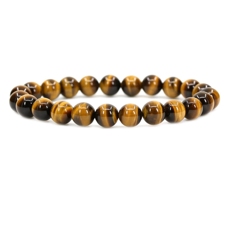 Natural AA Grade Golden Tiger Eye Gemstone 8mm Round Beads Stretch Bracelet 7'' Unisex