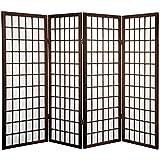 Oriental Furniture 4 ft. Tall Window Pane Shoji Screen - Walnut - 4 Panels