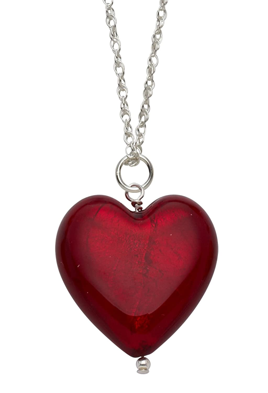 Genuine murano glass flat red heart pendant on sterling silver genuine murano glass flat red heart pendant on sterling silver chain of 25cm amazon jewellery mozeypictures Choice Image