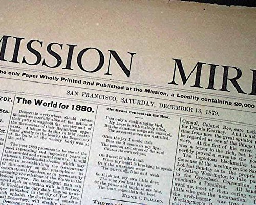 (Rare San Francisco California MISSION DISTRICT Old West 1879 Original Newspaper MISSION MIRROR, San Francisco, Dec. 13, 1879 Printed in the masthe...)