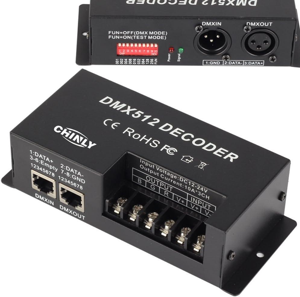 3 Canales 30A DMX 512 LED Decodificador Controlador DMX regulador de Intensidad Usar para DC12-24V RGB/RGBW/Monocromo LED LED Tira