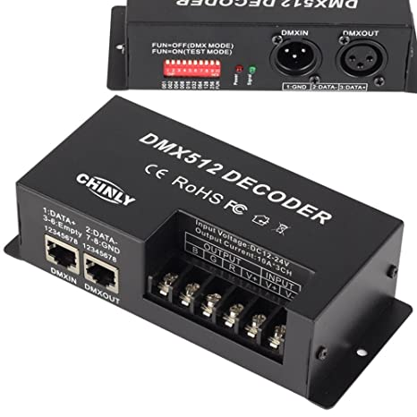 Amazon.com: CHINLY 3 Channel DMX 512 LED Decoder Controller 30A RGB ...