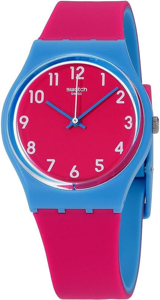 Amazon Com Swatch Women S Blue Lampone Quartz Watch With Silicone