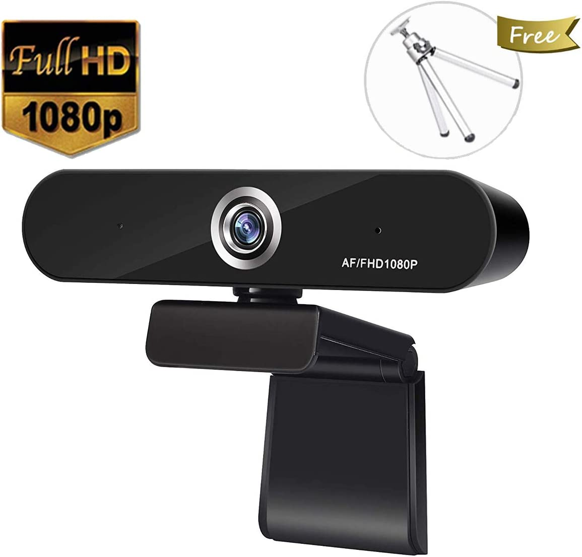 Full 1080P Webcam,Auto Focus Computer Camera, Face Cam with Dual Microphone for PC, Laptops and Desktop,90 Degree Extended View