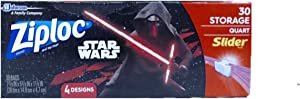 Ziploc Storage Slider Bags, Quart, 30 Count, Featuring Star Wars