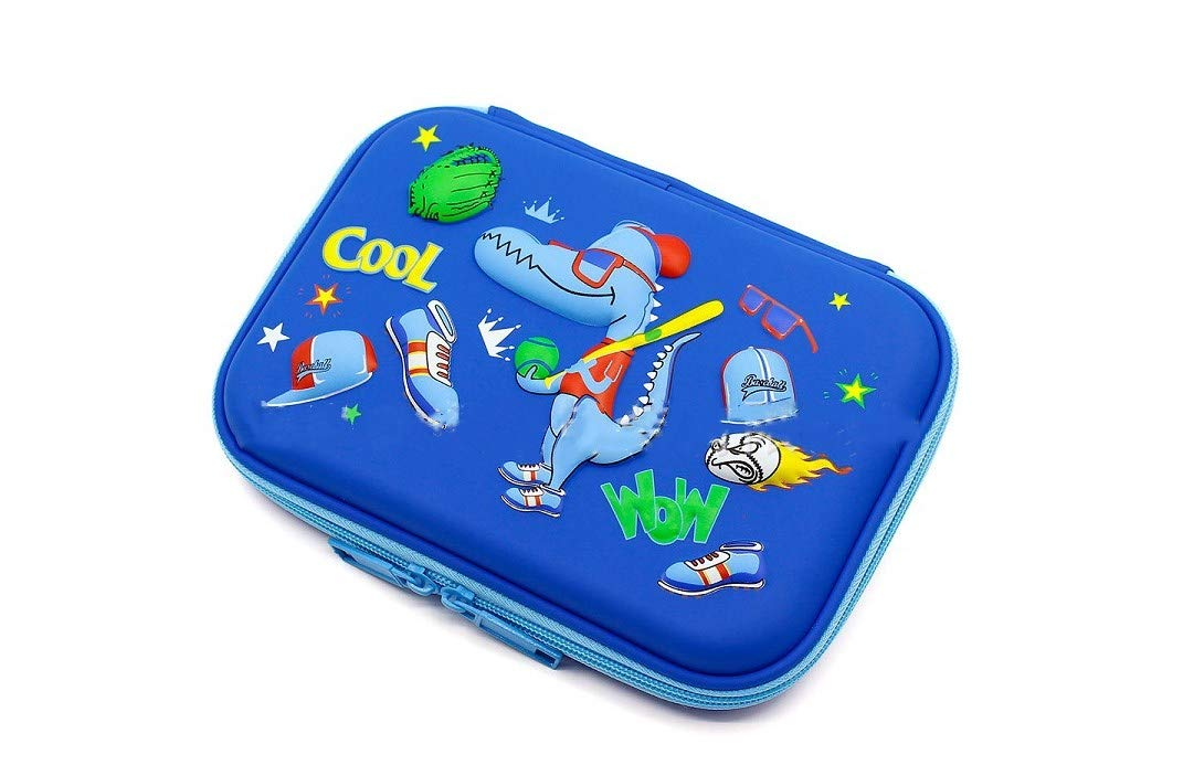 Borang Cool Baseball Boys Dinosaur Pencil Case - Large Capacity Hardtop Pencil Box with Compartments - Colored Pencil Holder School Supply Organizer for Kids Girls Toddlers Children (Royal Blue)