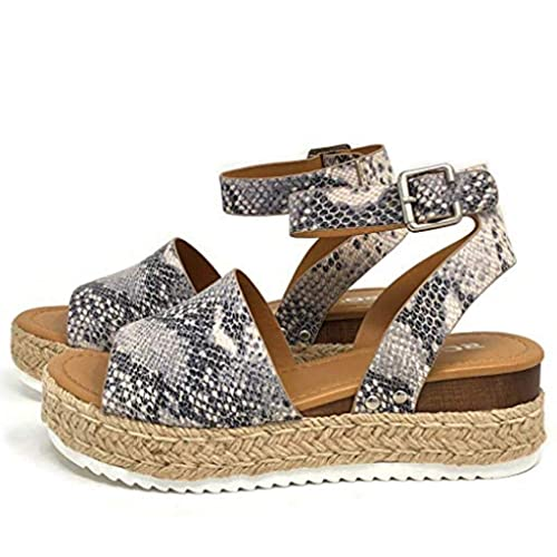 82c5b4b1 Mujeres Sandalias de Serpiente Plataforma Romanas, Bohemia Sandalias  Elegantes Planos cuñas cómodas Planas Sandalias Zapatos Chanclas:  Amazon.es: Zapatos y ...