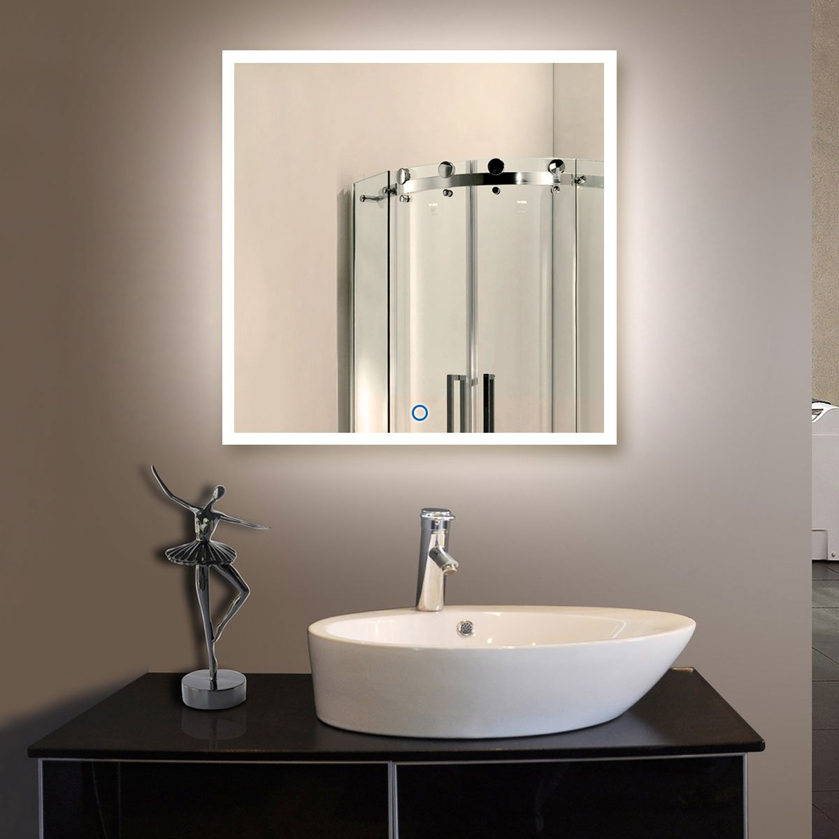36 x 36 In Horizontal and Vertical LED Bathroom Silvered Mirror with Touch Button (N031-E) by BHBL