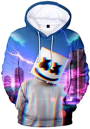2f78c596af1 OLIPHEE Boys Hoodie 3D Print Marshmello Pullover Sweatshirts Hooded Jumpers  Casual Hip Hop Streat Fashion Younth Mellogang