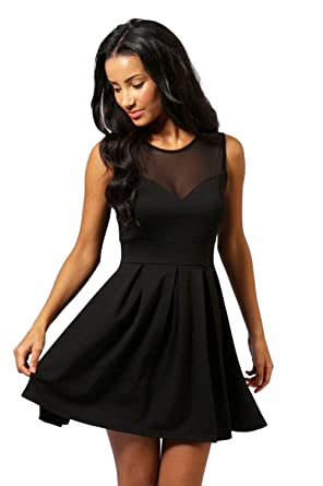 Blooming Jelly Damen Kleid Mesh Ruched V Neck Swing Pachwork Ärmelloses  kleines schwarzes Kleid  Amazon.de  Bekleidung ed5c23dcf0