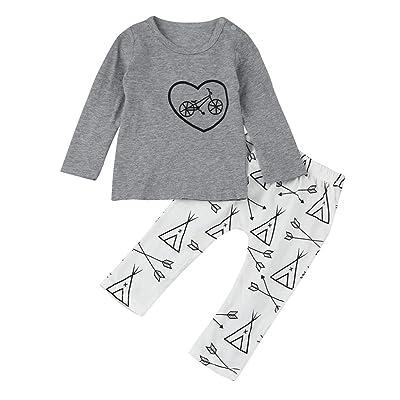 Honhui Newborn Baby Boys Heart Bike Print Long Sleeve Tops+Pant Outfit  Clothes Set 5f79d1749725