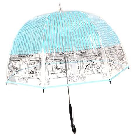 Lollipops [P0851] - Paraguas de caña de campana Lollipops turquesas transparentes (