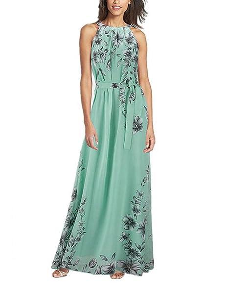 f822e7fb2453 Yidarton Women s Sexy Foral Sleeveless Summer Beach Long Maxi Dresses(Green  ...
