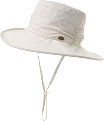 Comhats Ladies Bucket Summer Sun Hat Foldable Beach Cap Wide Brim UPF50 for