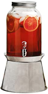 Circleware 66892 Americana Sun Glass Beverage Dispenser with Galvanized Base Metal Stand Fun Party Home Entertainment Glassware Pitcher for Water, Juice, Beer, Punch, Iced Tea, 1 Gallon, Clear