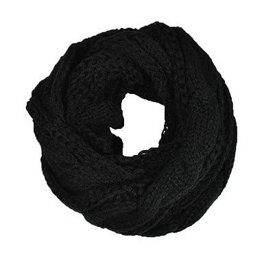 Femme écharpe Tube foulard Cercle Tubulaire Écharpe en Grosse Maille Chaude  Automne-Hiver unisexe Noir 0d2aba1c209