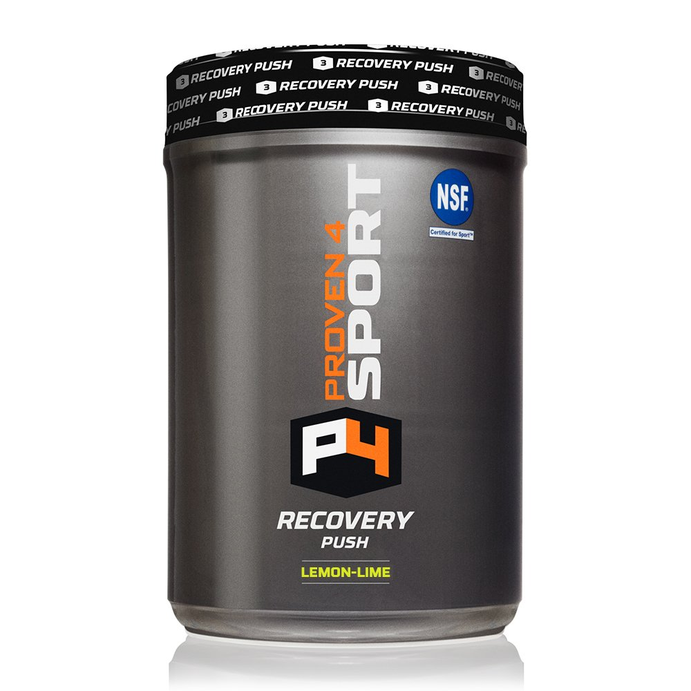 Proven4 in-Game/Post Workout/Post-Game Recovery Push Powder Mix w/BCAA, Electrolytes, Carb Loader and Glutamine - Flavor: Lemon Lime (NSF Certified for Sport)