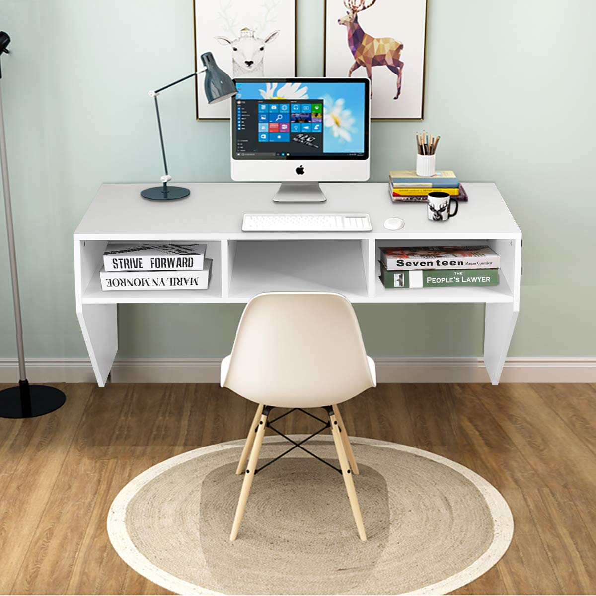 Space Saving Floating Laptop Desk,BestComfort Wall Mounted Computer Table with Storage Shelves for Bedroom,Office by BestComfort