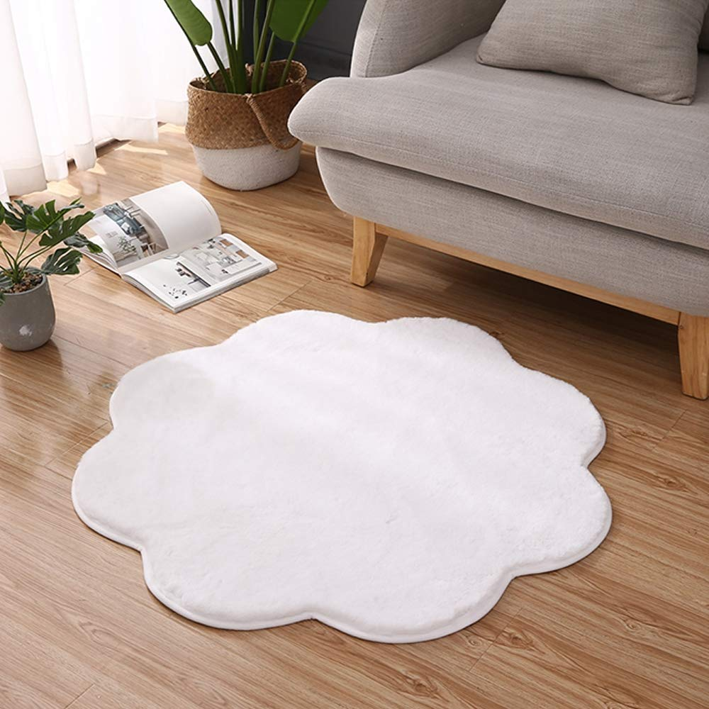 Super Soft Rugs for Living Room, Fluffy Shaggy Area Carpet Suitable As Bedroom Rug Home Decor Nursery Rugs Kids Mat, 90 X 90Cm,White by Linbing123