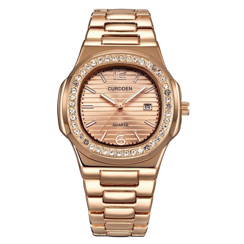 2019 Summer Deals ! Men's Nautilus Fully Rhinestone Watches Quartz Lced Out Gold Diamond Wristwatch Wrist Watch for Men Under 10 by Letdown Watch