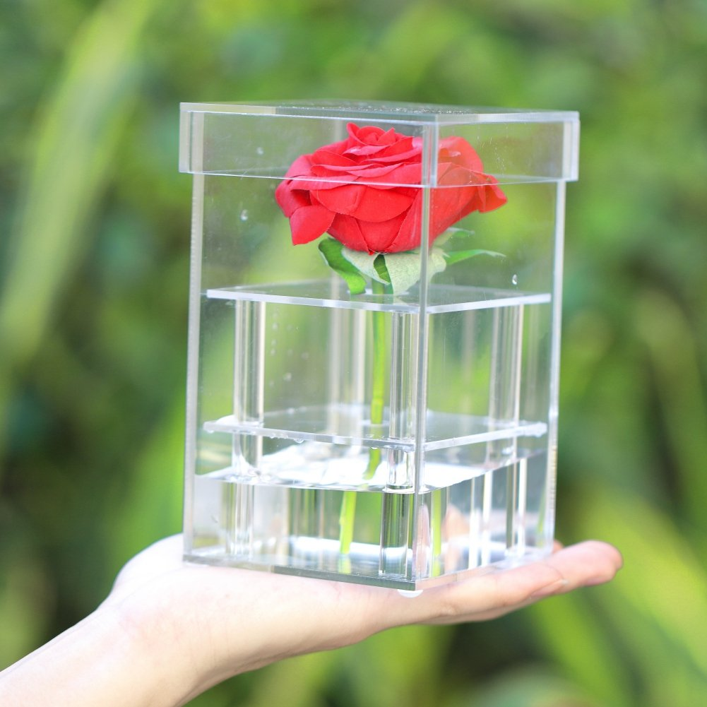 Smartcoco Clear Acrylic Rose Flower Container Storage Box with Cover for Valentine's Day Mother's Day