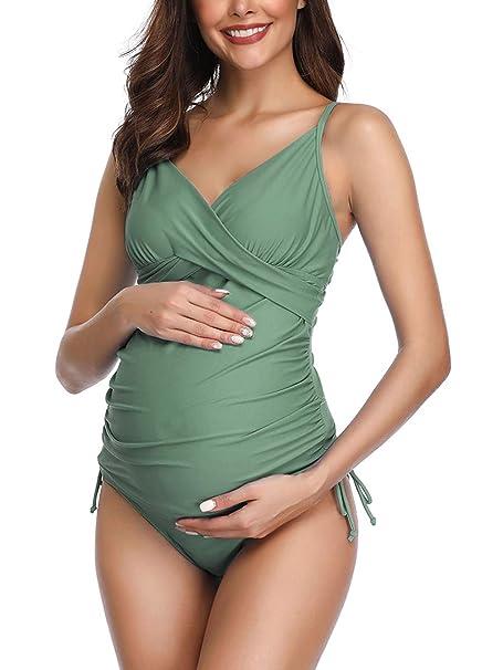 Amazon.com: Solid - Bañador de maternidad para mujer, estilo ...