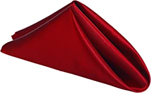 "mds Pack of 12 Wedding Satin 12""X 12"" Square Dinner Napkin or Handkerchief for Wedding Banquet Decoration - Apple red"