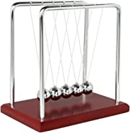 Newtons Cradle Balance Balls with Red Wooden Base Science Physics Learning Toy Fun Gadget Pendulum for Office Fun Desk Toys a