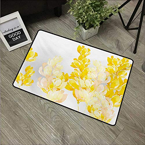 (Anzhutwelve Yellow and White,Indoor Floor Mats Watercolor Art Style Blossoming Wild Flowers Spring Meadow Botany Nature W 31