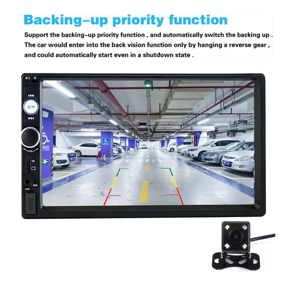 17.8 cm 2 Din Car Audio Estéreo Bluetooth Touch Reproductor MP5 USB FM Teléfono Android Enlace de espejo Multimedia Radio + 4 LED Mini cámara de visión ...