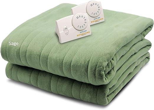 Amazon Com Biddeford Blankets Comfort Knit Heated Blanket Queen Sage Home Kitchen