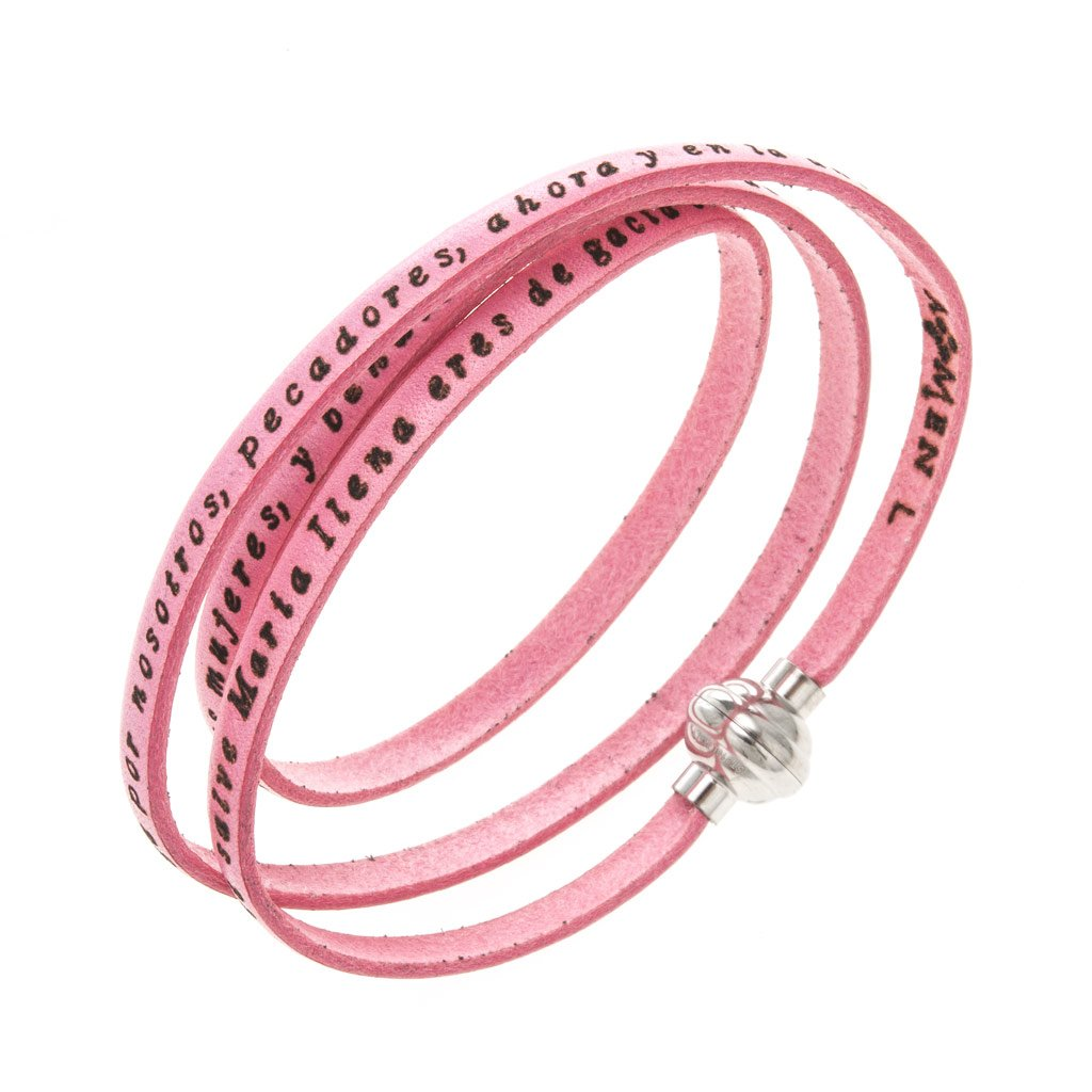 Amen Bracelet in pink leather Hail Mary SPA, 60 cm (23.64 inc.)