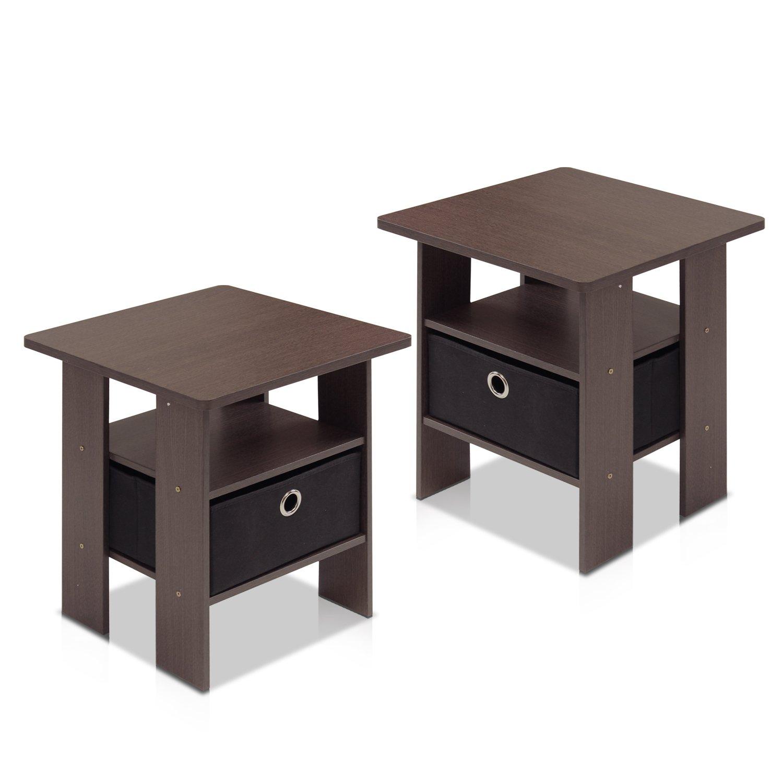 amazoncom furinno 211157dbr end table bedroom night stand petite dark brown set of 2 kitchen u0026 dining