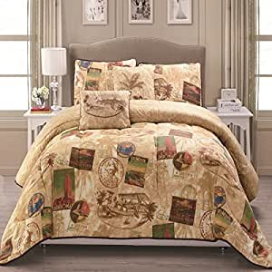 5 piece tan post card travel comforter full for World themed bedding