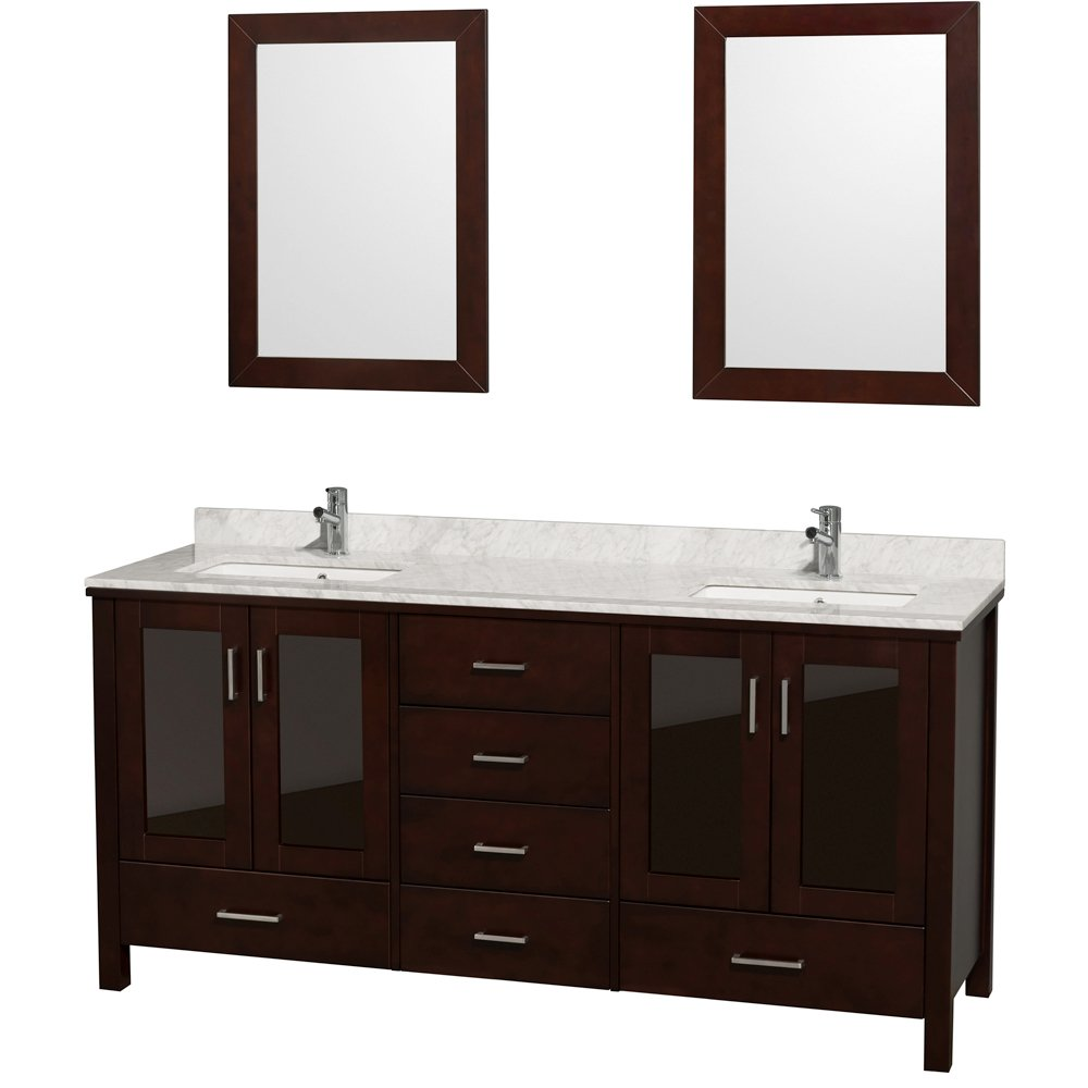 Wyndham Collection Lucy 72 inch Double Bathroom Vanity in Espresso, White Carrara Marble Countertop, White Undermount Sinks, and 24 inch Mirrors