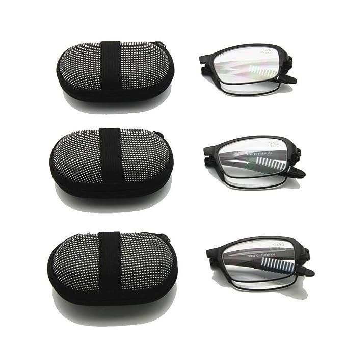 EnzoDate Gafas de lectura plegables flexibles con estuche, 1 a +3.5 Gafas plegables de presbicia y mujer Hipermetropía, Lector de bolsillo de óptica