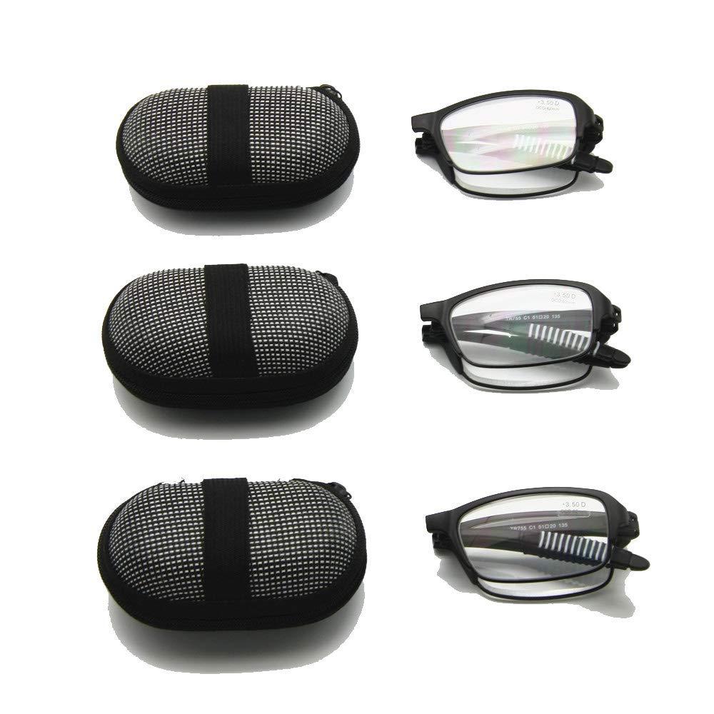 EnzoDate Gafas de lectura plegables flexibles con estuche, 1 a +3.5 Gafas plegables de