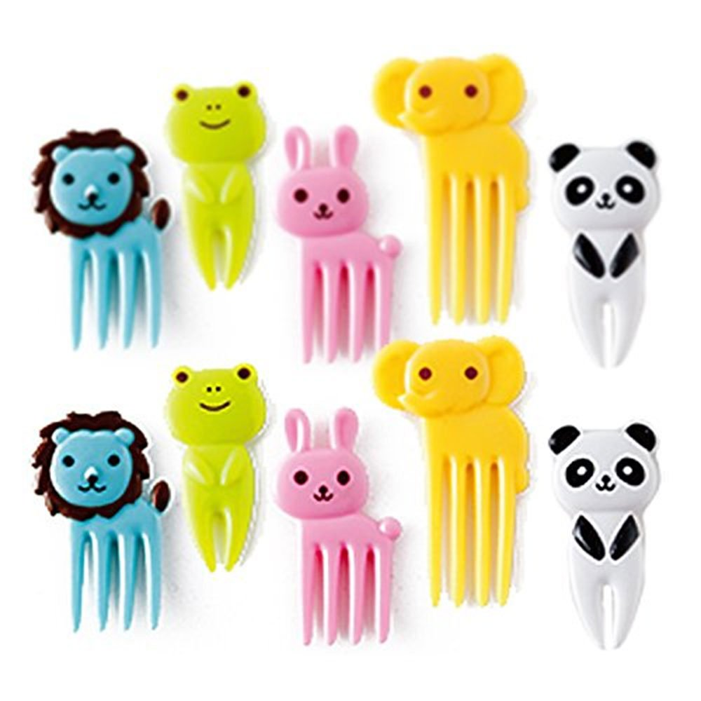 Bento Box Accessories Lunch Picks, Aolvo Mini Cartoon Zoo Animal Food Picks and Forks Resin Toothpick Cutlery Set for Kids