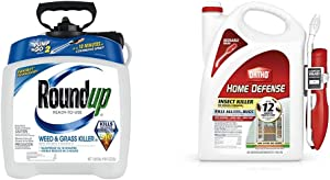 Roundup Ready-to-Use Weed & Grass Killer III - with Pump 'N Go 2 Sprayer, 1.33 gal. & Ortho 0220910 Home Defense Insect Killer for Indoor & Perimeter2 with Comfort Wand Bonus Size, 1.1 GAL